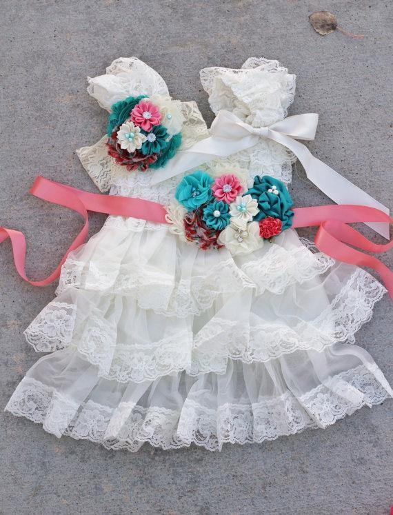 Mariage - ivory teal coral dress sash headband SET,lace girl Dress,baby dress,Flower girl dress,First 1st Birthday Dress, girls photo outfit