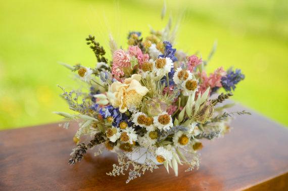 Wedding - Spring wildflower wedding cake topper, wildlfower wedding, pink and purple wedding, dried flower wedding, spring wedding