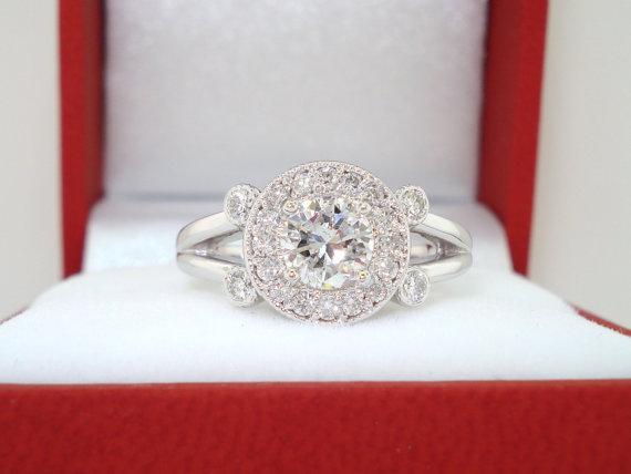 Свадьба - Natural Diamond Engagement Ring 0.92 Carat 14k White Gold Pave Halo Bridal Ring Handmade