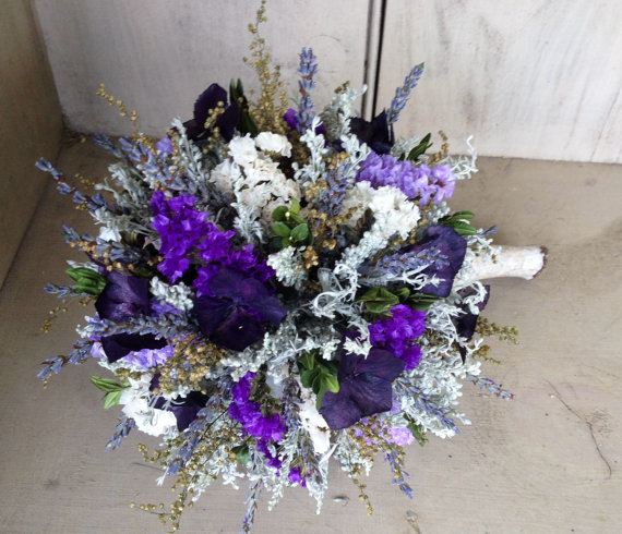 Свадьба - Bridal bouquet made with all natural dried flowers with a birch log handle and stand. Converts into a topiary for a beautiful centerpiece.