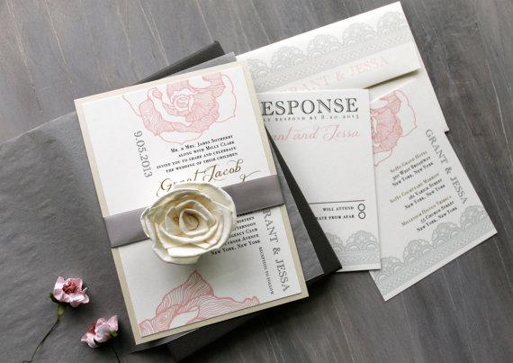 "Mariage - Elegant Boxed Wedding Invitations, Romantic Luxury Wedding Invitations, Blush and Gray Wedding - ""Ruffled Romance Box Invite"" Sample"