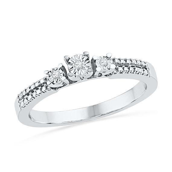 Wedding - Three Stone Diamond Ring with Accents, Sterling Silver or White Gold Engagement Ring