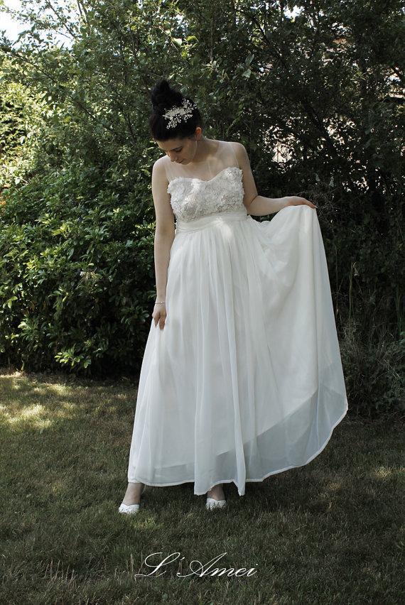 Mariage - Custom Many way to wearing flower lace wedding dress Perfect for beach wedding - Bohemian Girl - AM 198600789