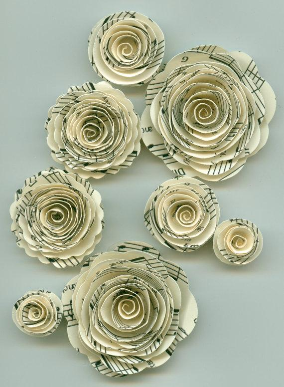 Mariage - Music Note Rose Spiral Paper Flowers for Weddings, Bouquets, Events and Crafts
