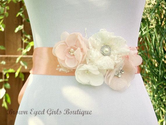 Mariage - Blush Pink, Peach and Ivory Lace Bridal Sash, Blush and Peach Wedding Sash, Blush Pink Wedding Belt