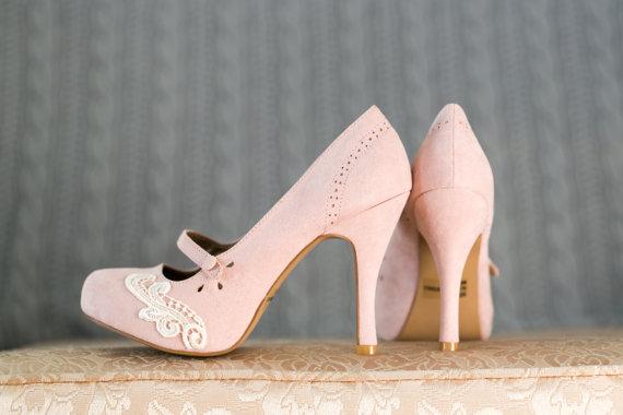 Свадьба - Blush Wedding Shoes - Blush Mary Jane Pumps, Blush Heels, Blush Pumps with Ivory Lace. US Size 7.5