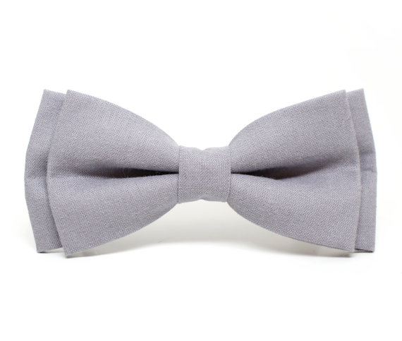 Свадьба - Grey Solid Bow Tie for all ages - pre tied bowtie, wedding, photo prop, ring bearer, church, family photo