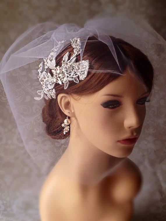Свадьба - Wedding Bridal Veil Set, Tulle Wedge Birdcage Veil with Lace Hairpies,Birdcage Fascinator,  Rhinestone Wedding Headpiec