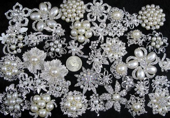 Свадьба - Lot 40pcs Crystal Rhinestone Brooch Pins Wedding Brooch Bouquet Brooch Wedding Gift Decor Invitation Embellishment Supplies Wholesale Brooch