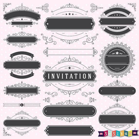romantic weddings label frame decorations shower invitation design