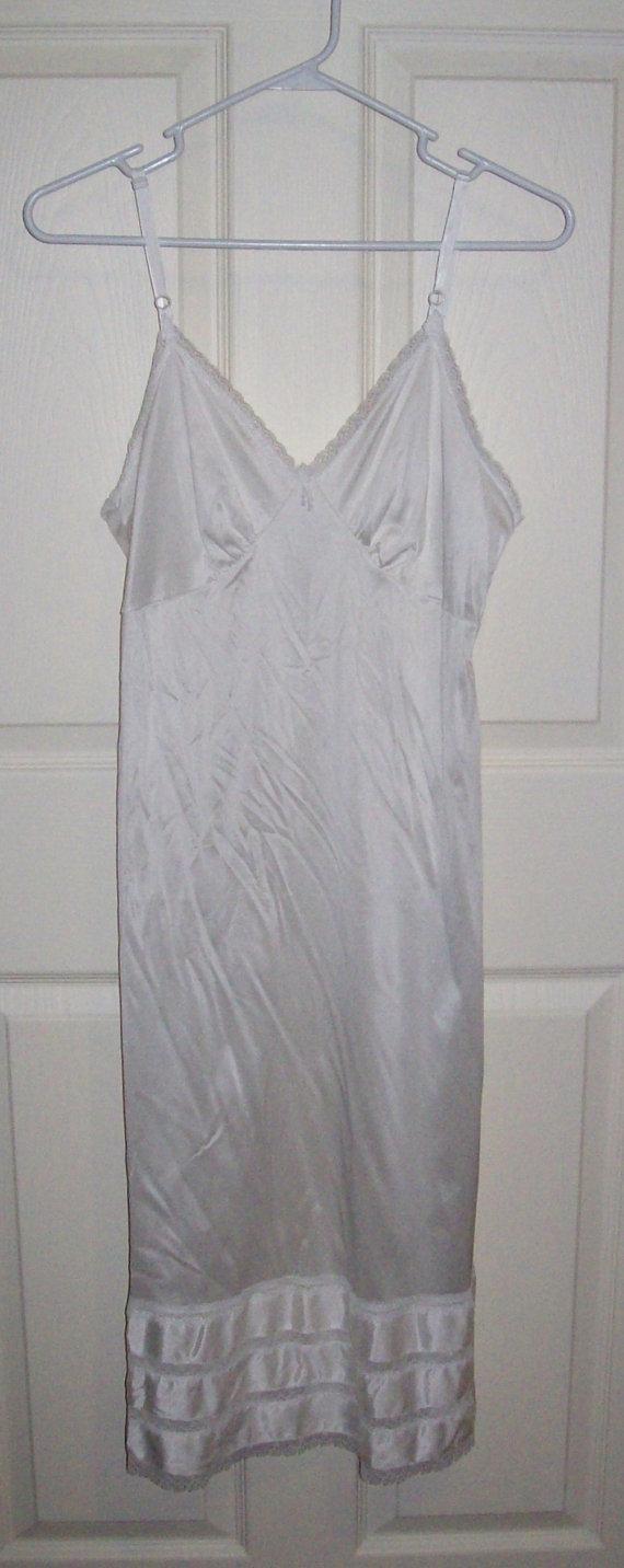 Свадьба - Vintage Ladies White Nylon Slip w/ Lace Trim from Sears Size 34 Only 6 USD