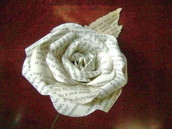 Свадьба - Jane Austen Pride and Prejudice vintage book paper  flower rose with leaf on stem or any other of Jane Austen's books