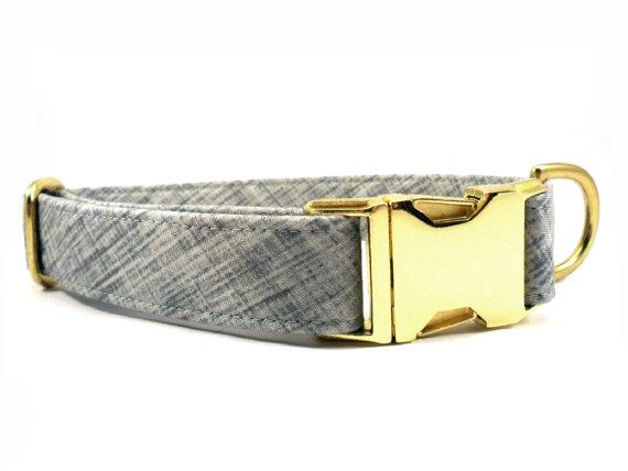 Свадьба - Dog Collar, SCRATCHED GRAY, Handmade Dog Collar
