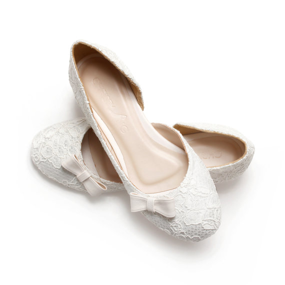 e5d97b2668d Simply Sweet. Ivory Lace White Satin Wedding 1 Inch Ballerinas ...