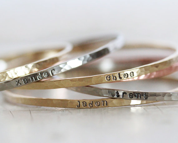 Personalized Bangles Gift For Her Bridesmaid Name Bracelet Mom Engraved Unique Mothers Jewelry