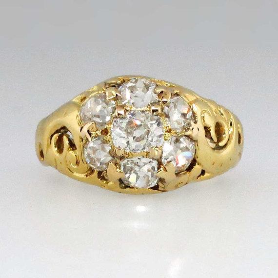 Wedding - Beautiful Georgian 1.70ct t.w. Old Mine Cushion Cut Diamond Engagement Ring 18k