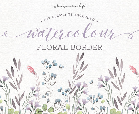 Watercolor Floral Border: PNG Floral Clip Art / Wedding Invitation Clip Art  / Commercial Use / Pink, Grey, Lilac, Green / CM0072b
