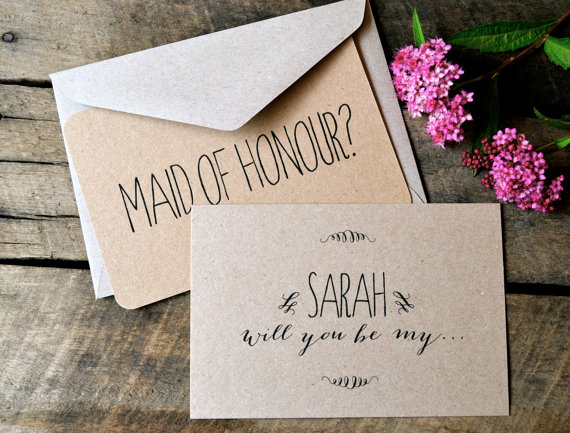 Свадьба - Will you be my Bridesmaid Card, Flower Girl Card, Maid of Honour Card