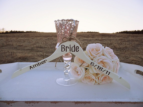Mariage - Bridal Party Dress Hanger Wedding Dress Hanger Ivory Bridesmaid Hanger Flower Girl Dress Hanger Rustic Wedding Dress Photo Prop Wood Hanger