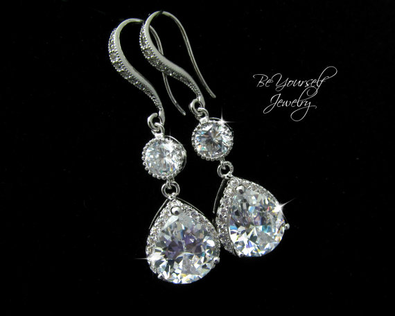Bridal Earrings Cubic Zirconia Teardrop Sparkly White Crystal Dangle Hypoallergenic Bridesmaid Gift Wedding Jewelry
