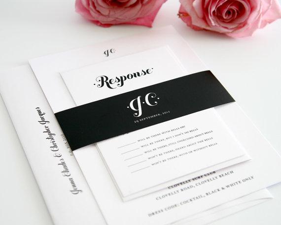 Mariage - Black and White Wedding Invitation Suite - Chic, Modern, Whimsical Wedding Invitation, Wedding Invites - Whimsy and Script Design - Sample