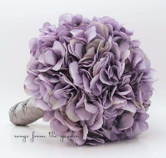 Mariage - Wedding Bouquet Lavender Silk Hydrangea Groom Boutonniere Lavender Silk Flower Bridal Bouquet Hydrangea Antique Lavender Silver Grey Ribbon