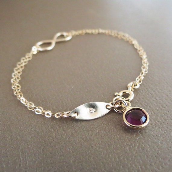 Wedding - Personalized Infinity Bracelet & Birthstone,Gold Infinity Bracelet,Gift Idea for Her,Initial Bracelet,Bridesmaids Jewelry,Friendship Gift