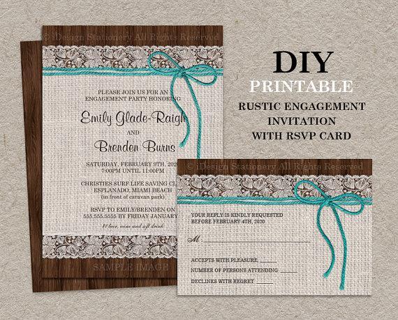 Rustic Engagement Invitation With RSVP, Printable Burlap ...