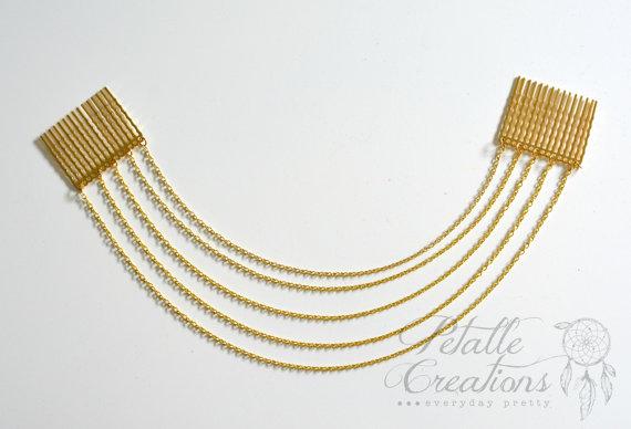 زفاف - gold hair chain, 5 tier hair chain, 2 comb hair chain, goddess hair accessory, hair, wedding hair, bridesmaid hair, boho hair