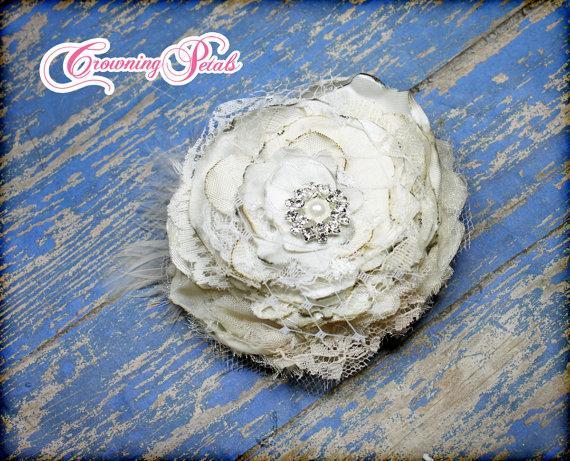 Wedding - Ivory Bridal Hair Accessory, White, Cream Wedding Headband, Flower Girl, Custom Hair Piece, Bridesmaid, Baby Hair Bow, Fabric Flowers