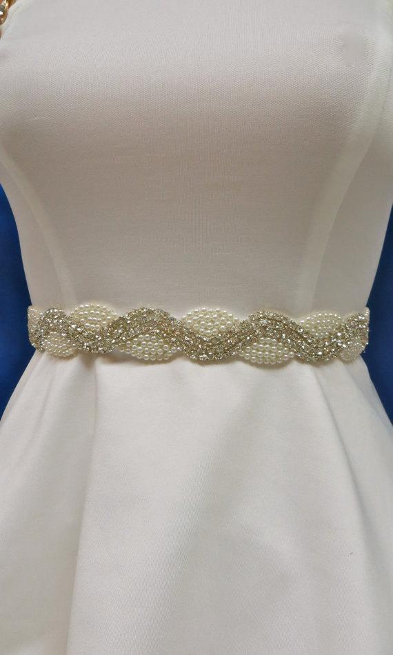 Mariage - Rhinestone Pearl  Sash, Wedding  Gown Accessory, Bridal Pearl Sash,  Bridal Pearl Belt, Wedding Dress Accessory, Pearl Dress Sash