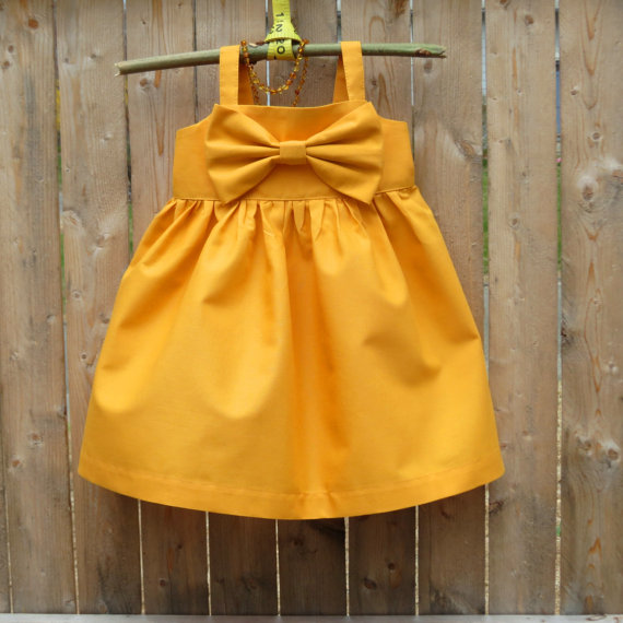 Wedding - Mustard  Big bow Dress, Girls Easter dress,Baby Easter outfit, toddler big bow dresse, Spring, Wedding, flower girls dress,rustic,photo prop