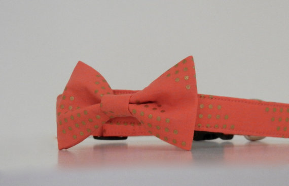 زفاف - Coral Gold Metallic Stripe Polka Dot Bow Tie Dog Collar Wedding Accessories Made to Order
