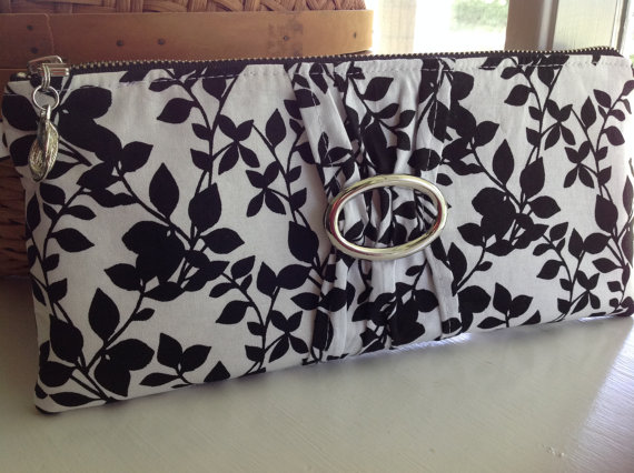 "Mariage - Black & White Clutch, Evening Bag, Wedding, Bridesmaids, Packages Available, Ad-Ons Available ""Black Vine"""