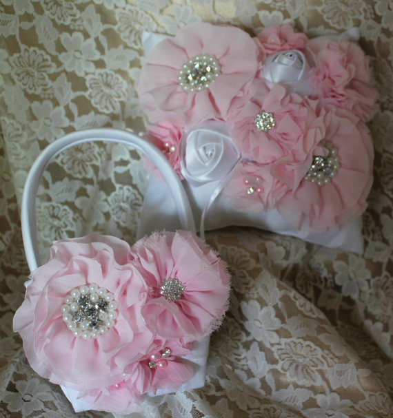 Mariage - Cream/White Flower Girl Baskets/Ring Bearer Pillow- Pink Chiffon Flowers Accented with Rhinestones and Pearls