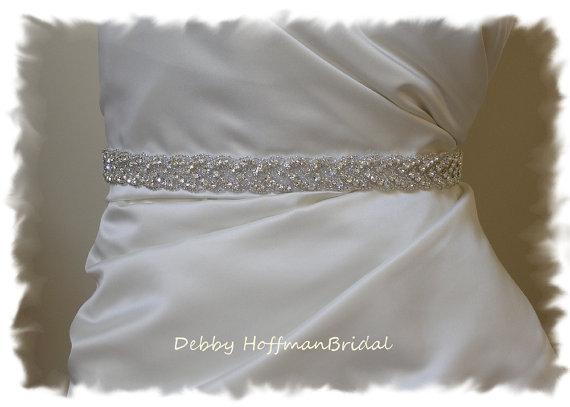 Mariage - Bridal Sash, 18 Inch Rhinestone Wedding Dress Sash, Belt, Beaded Rhinestone Crystal Sash, No. 3010S-18, Wedding Accessories, Belts, Sashes
