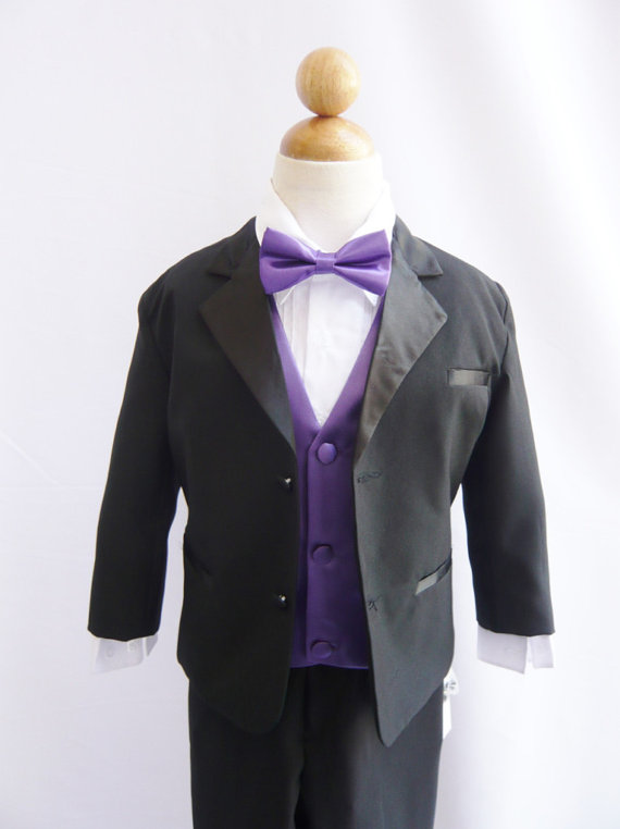 Mariage - Formal Boy Tuxedo Black with Purple Eggplant Vest for Toddler Baby Ring Bearer Easter Communion Bow Tie Size 10, 12, 14, and More