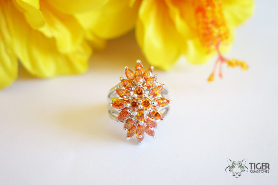 Mariage - 50% OFF! 3 Carat Cluster Marquise and Round Cut, Man Made Tuscan Orange Diamond Simulant Ring, Engagement, Cocktail Ring, Sterling Silver