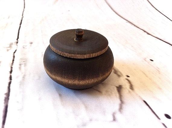 Mariage - Rustic Wood Ring Jar with Lid Ring Bearer Pillow Alternative Keepsake Ring Jar Dark Walnut Wood Box Rustic Wedding Ring Box Country Wedding