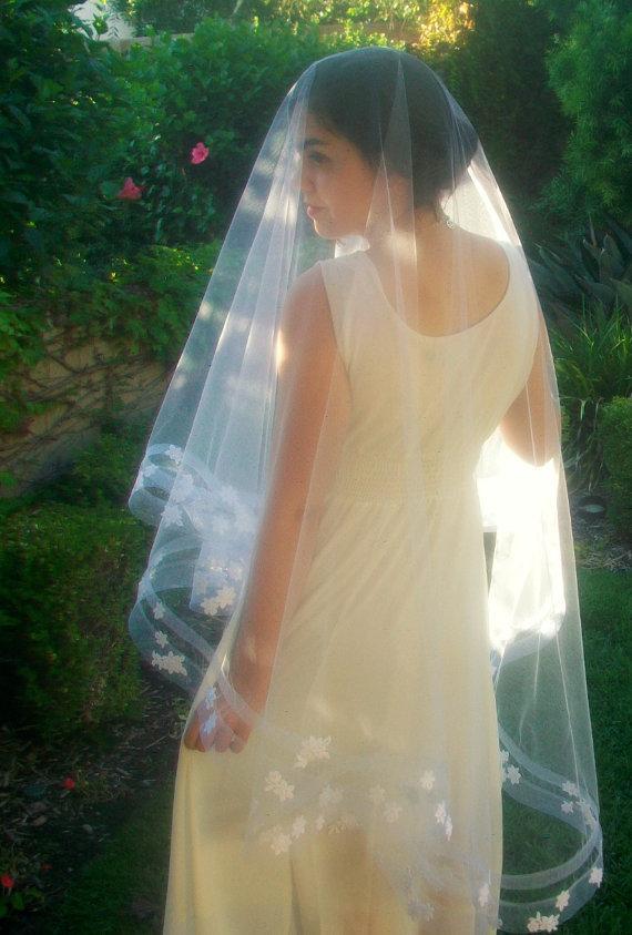 Mariage - CUSTOM ORDER for Elena Only: Horsehair Bridal Veil -Drop Veil -Wedding Veil -Horsehair Ribbon Veil with Blusher- Fingertip Length Veil Waltz