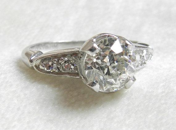 Mariage - 1.30 Ct Platinum Engagement Ring Old European Cut 1920s Platinum Diamond Engagement Platinum Ring Diamond Ring