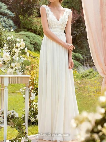 Wedding - A-line V-neck Floor-length Beading Wedding Dresses