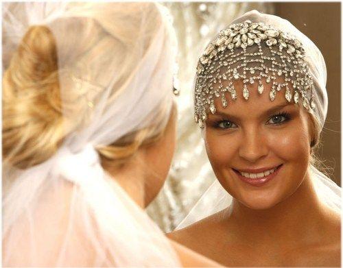 Свадьба - Bridal Headband, Bridal Veil, Crystal Headpiece, Crystal Art Deco Hair Jewelry, Bridal Rhinestone Hair Piece, Wedding Hair Accessory