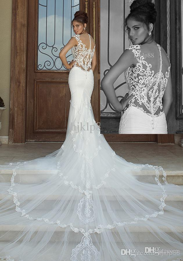 زفاف - Galia Lahav 2014 New Fashion Mermaid Applique Graceful White Ivory Lace&tulle Wedding Dresses Sexy Backless Bridal Gown Online with $129.24/Piece on Hjklp88's Store