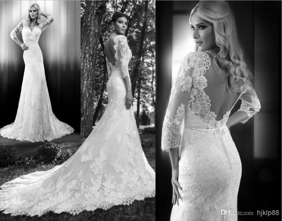 Custom 2014 new 3 4 long sleeve v neck backless wedding for Long sleeve white lace wedding dress