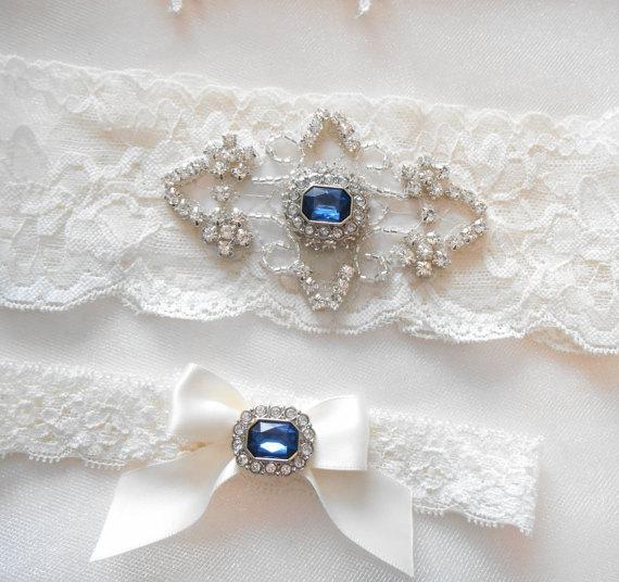 Свадьба - Wedding Garter Set Ivory or White Stretch Lace Bridal Garter Set With Soft Blue Pearl and Rhinestone Setting Garter Set.