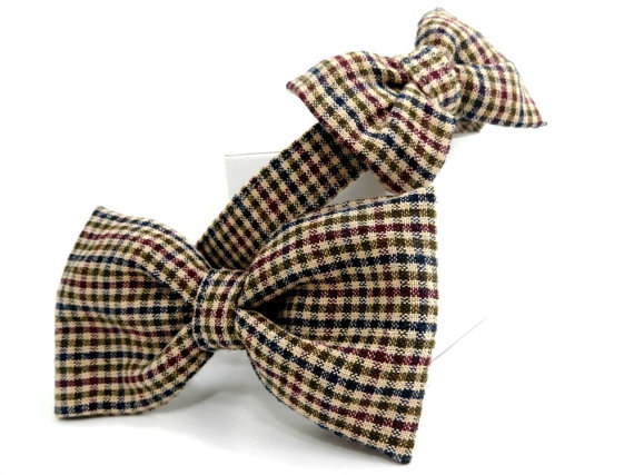Свадьба - Beige Plaid Dog Bowtie Collar, Dog Collar and Bowtie