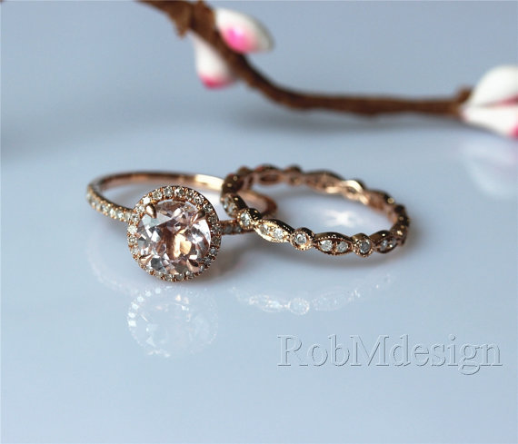 Morganite Engagement Ring Set 7mm Round Cut Morganite Ring Full Eternity  Diamond Wedding Ring Set Gemstone Ring Set