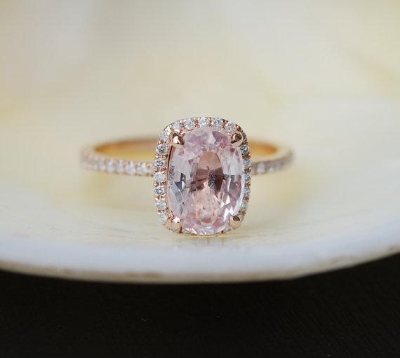 زفاف - Rose gold engagement ring Peach sapphire diamond ring 14k rose gold cushion sapphire