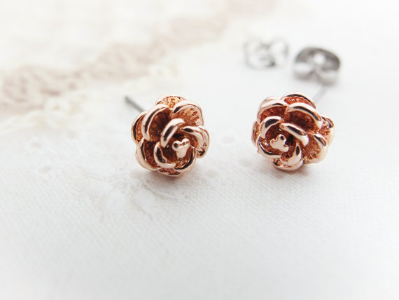 Rose Earrings Gold Cute Earring Studs Stud Gift Bridesmaids Mom Birthday Best Friend